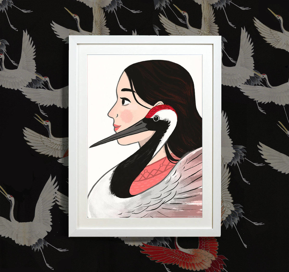 The Crane - Illustrated Art Print portrait inspired by the Japanese Crane - product images  of