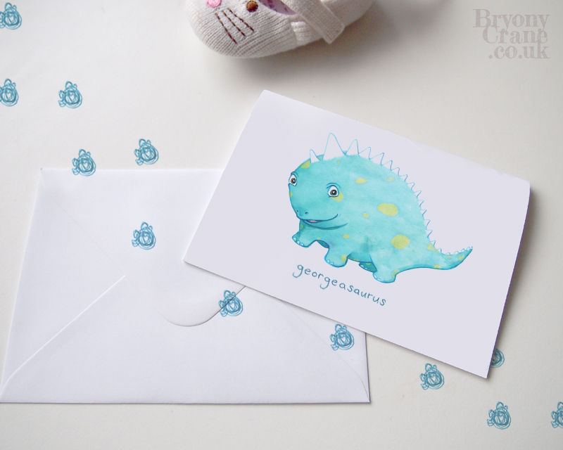 Personalised dinosaur greetings card. Custom cards for new baby or children's birthdays! (4 Designs) - product image