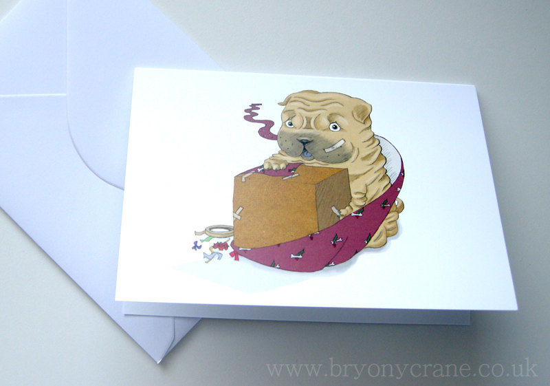 Christmas Card Series - Shar Pei Puppy - Single Cards and Sets of 4 or 8 - product image