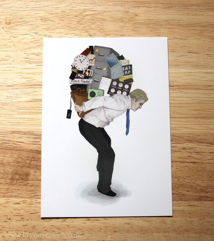 Illustration Print Postcard - The Weight of Technology (Phone Apps) - product image