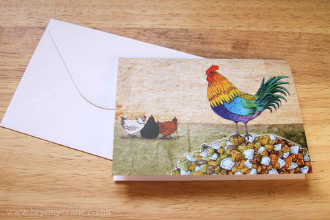 Illustrated,Greetings,Card,-,The,Cockerel,and,Jewel,Art,Illustration,greetings_card,birthday_card,thank_you_card,illustrated_cards,illustration,rooster,cockerel,chicken,aesops_fables,jewel,stationery,art_card,greeting_card,card,white_envelope,300gsm_card_stock