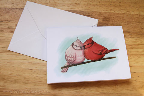 Illustrated,Bird,Greetings,Card,-,Two,Birds,Pink,Red,Blue,Art,Illustration,greetings_card,birthday_card,thank_you_card,illustrated_cards,cards,illustration,uk,stationery,two_birds,birds,regina_spektor,love_birds,valentines_card,card,white_envelope,300_gsm_card_stock