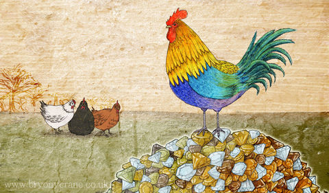 The,Cockerel,and,Jewel,Illustration,Art,Postcard,Print,illustrated_cards,cards,illustration,rooster,cockerel,chicken,aesops_fables,jewel,stationery,postcard,illustrated_postcard,postcard_print,art_postcard,card,350gsm_paper_stock