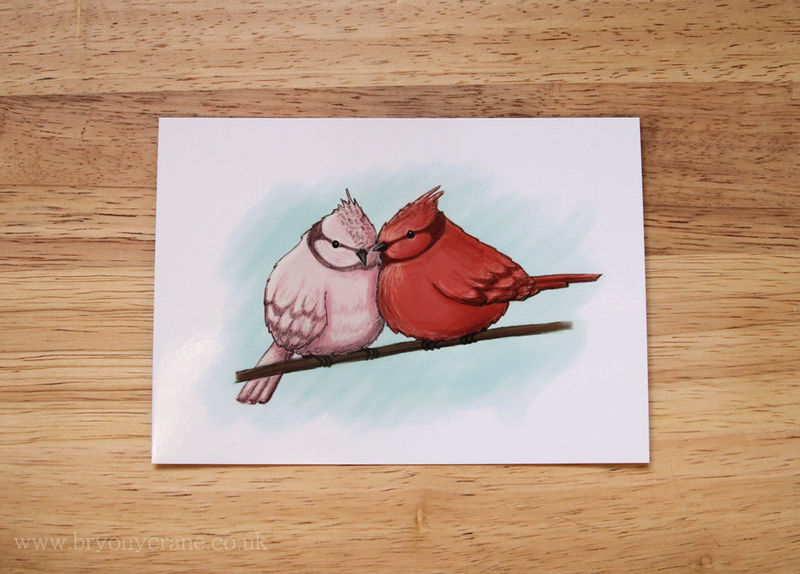 Pink Red and Blue - Two Birds Illustration Art Postcard Print - product image