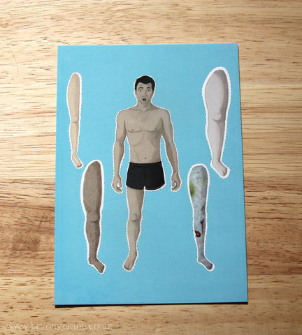 The,Missing,Leg,Postcard,Print,Art,Illustration,illustrated_cards,cards,illustration,uk,stationery,postcard,illustrated_postcard,cut_out_doll,dress_up_doll,leg,man_illustration,funny_illustration,humour,card,350gsm_paper_stock