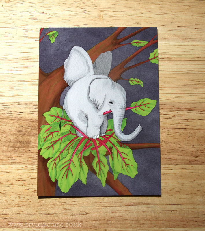 Poetry Postcard Print - The Elephant Is A Pretty Bird - Rhubarb Pink Grey and Green - product images