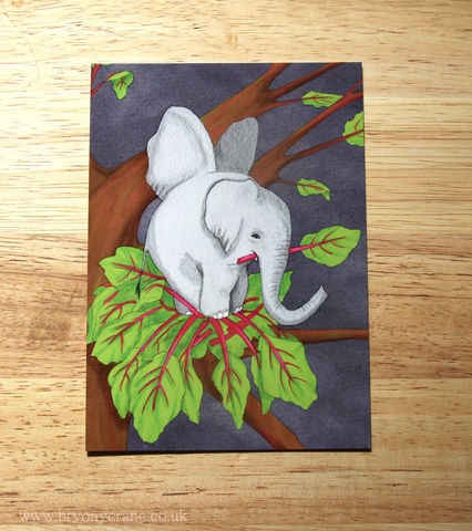 Poetry,Postcard,Print,-,The,Elephant,Is,A,Pretty,Bird,Rhubarb,Pink,Grey,and,Green,Art,Illustration,illustrated_cards,cards,illustration,stationery,postcard,illustrated_postcard,postcard_print,elephant,elephant_bird,rhubarb,poetry,pink,green,card,350gsm_paper_stock