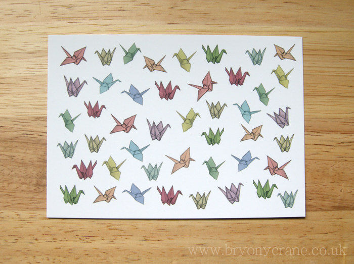 Patterned Origami Cranes Postcard Print - product image
