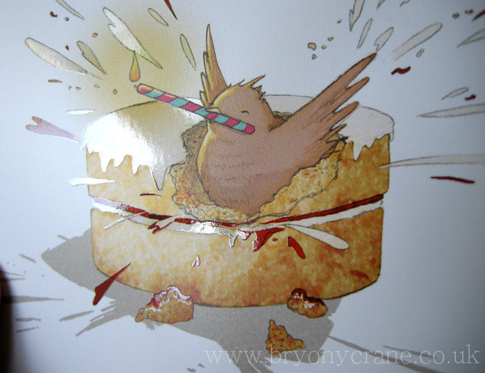 Happy birdthday - Illustrated bird and cake birthday card - product image