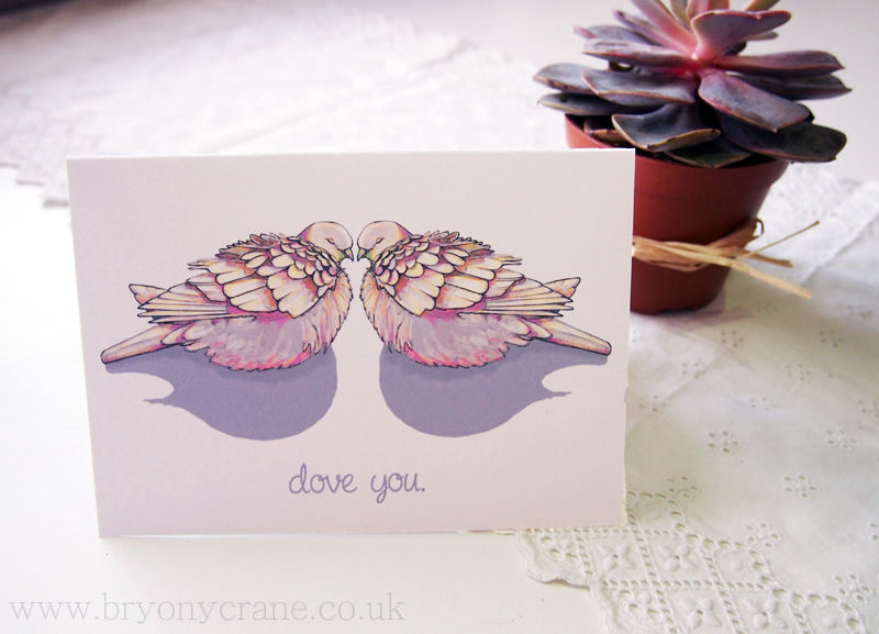 'Dove you' Illustrated Anniversary or Valentines Card - product image