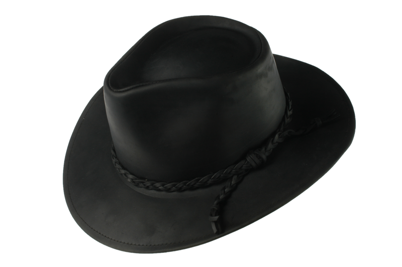 Black Fer Waxed Leather Hat - product images
