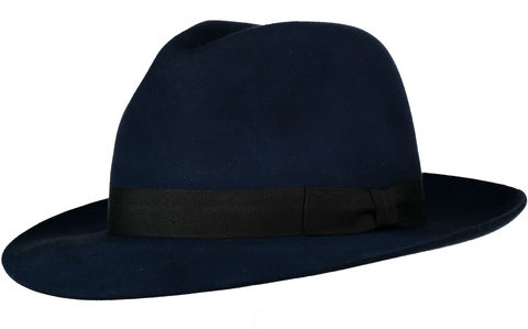 Blue,Andres,Fur,Felt,Trilby, Felt Hat, Blue Hat, Waterproof Hat, Argentine Hats, Argentinian Hats, Suede Hats, Leather Hats, Waterproof Hats, Estribos, Estribos Argentina, Polo Belts, Estribos Polo Belts