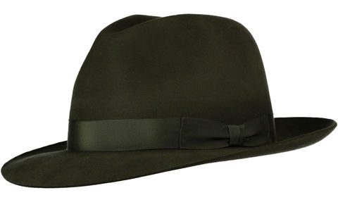 Green,Andres,Fur,Felt,Trilby, Felt Hat, Green Hat, Waterproof Hat, Argentine Hats, Argentinian Hats, Suede Hats, Leather Hats, Waterproof Hats, Estribos, Estribos Argentina, Polo Belts, Estribos Polo Belts