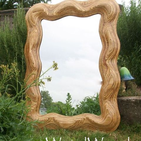 Wobbly,Large,Mirror, Hall Mirror, Over Mantle Mirror, Carving, Wall Hanging, Sculpture, Plywood Mirror