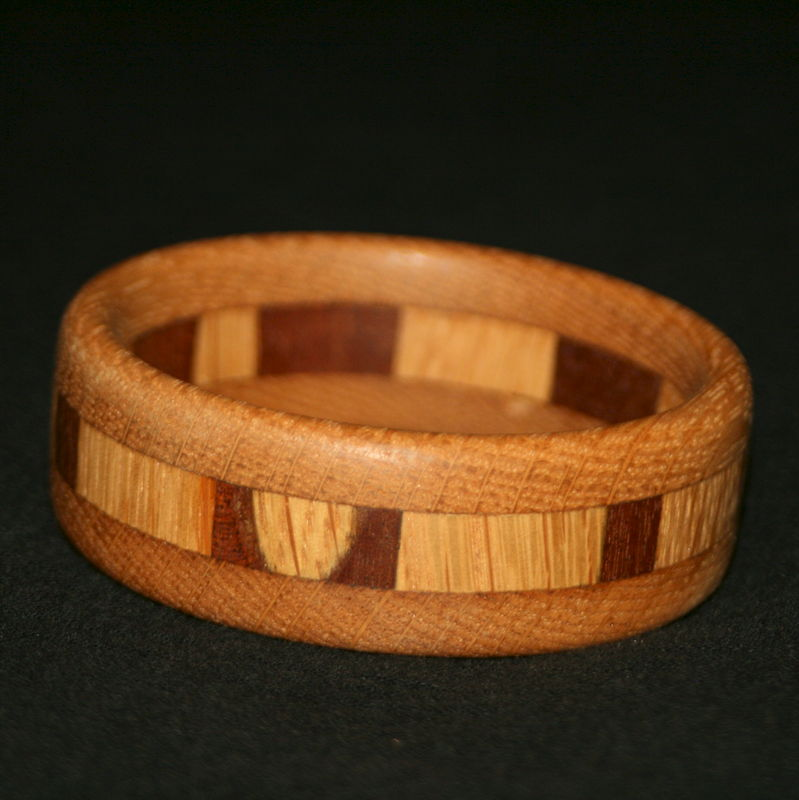 Wooden Bangle Segmented with Mahogany & English Oak (narrow) - product image