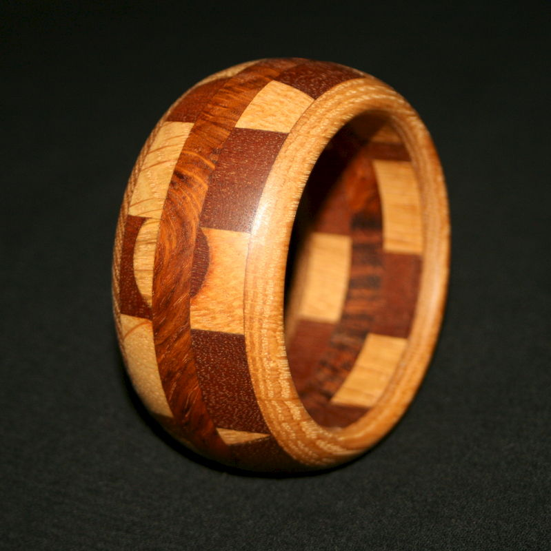 Wooden Bangle Segmented with Mahogany, Oak & Oak Burr - product image