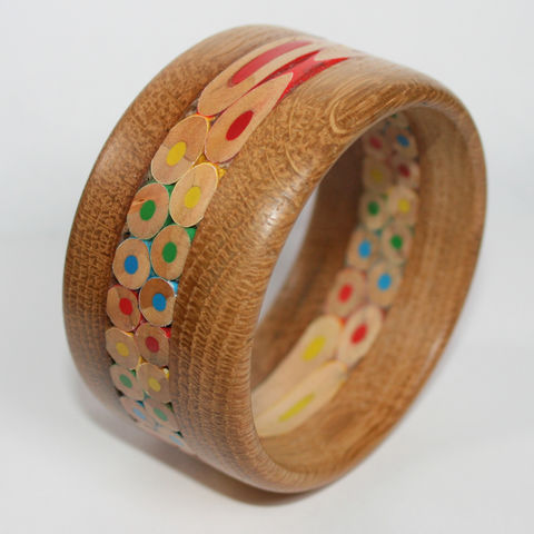 Wood,Bangle,,English,Oak,&,Coloured,Pencils,Bangle, Bracelet, Wood Bangle, Oak, Coloured Pencil Bangle, Coloured Pencil Bracelet, Jewellery, Jewelry, Rustic Jewellery, Wooden Bangle, Wood Bracelet, Rustic Bangle