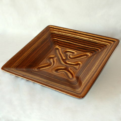 Square,Squiggly,Fruit,Bowl, Wood Bowl, Fruit Bowl, Salad Bowl, Baguette Bowl, Carving, Tableware, Sculpture, Plywood Bowl, valentine
