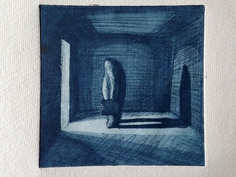 The,Doorway,-,Artist,Proof,Aquatint,Etching,(dark,Blue),Etching print on paper