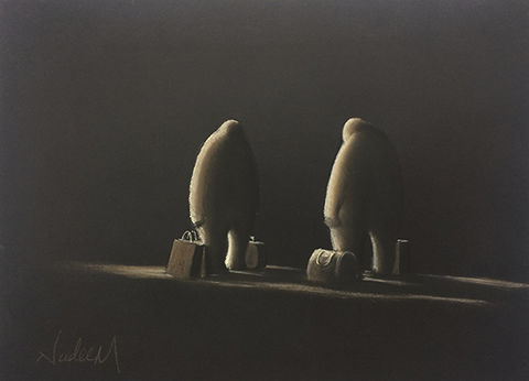 The,Meeting,Original pastel on paper