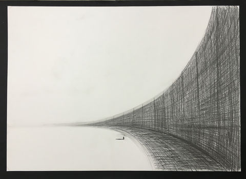 Wall,(graphite),Original pastel on paper