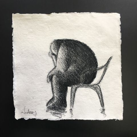 Thinker,(pencil),Original pencil on paper