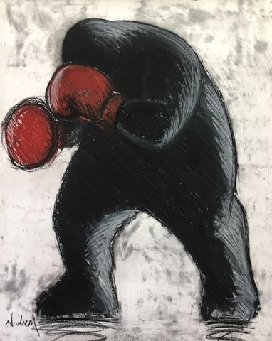 The,Contender,Original pastel on paper