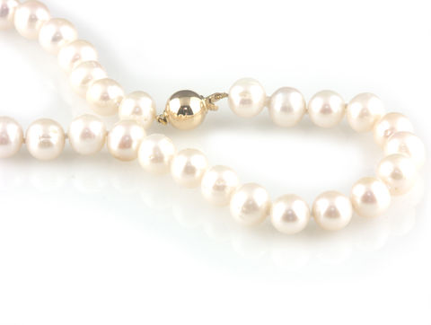 'Bridal,&,Bespoke',-,Pearl,necklace,with,9ct,gold,ball,clasp,bridal jewellery, wedding, necklace, contemporary, pearl, gold ball clasp