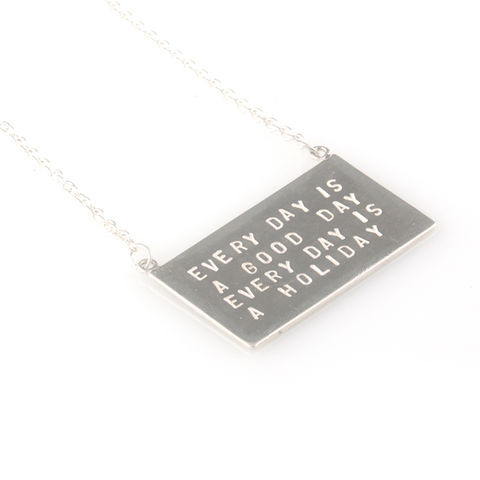 'Every,day,is,a,good,day',-,silver,pendant,with,wording,'every,silver jewellery, contemporary jewellery, necklace, pendant, every day is a good day