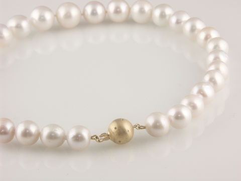 'Bridal,&,Bespoke',-,Pearl,necklace,with,18ct,gold,ball,clasp,and,diamonds,bridal jewellery, wedding, necklace, contemporary, south sea pearl, gold ball clasp, diamonds