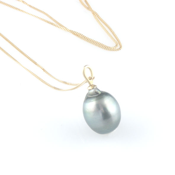 'Pearl Wonder' - Black tahitian pearl pendant with gold chain - product images  of