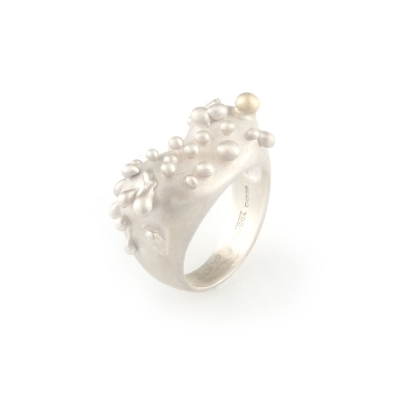 Silver ring with gold droplet - product images  of