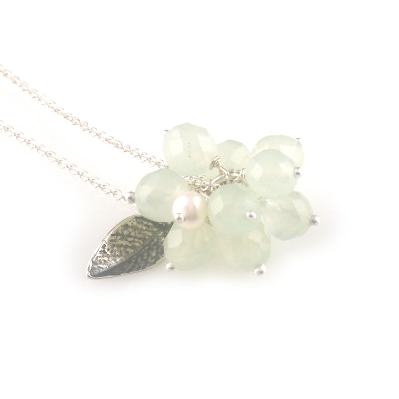 'Wearing Nature' - green quartz cluster with pearl necklace - product images  of