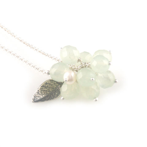 'Wearing,Nature',-,green,quartz,cluster,with,pearl,necklace,silver jewellery, contemporary jewellery, necklace, pendant, green quartz, pearl