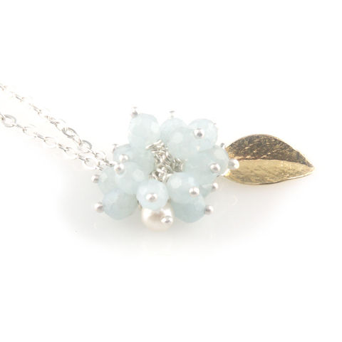 'Wearing,Nature',-,Aquamarine,cluster,with,pearl,necklace,silver jewellery, contemporary jewellery, necklace, pendant, Aquamarinez, pearl, gift