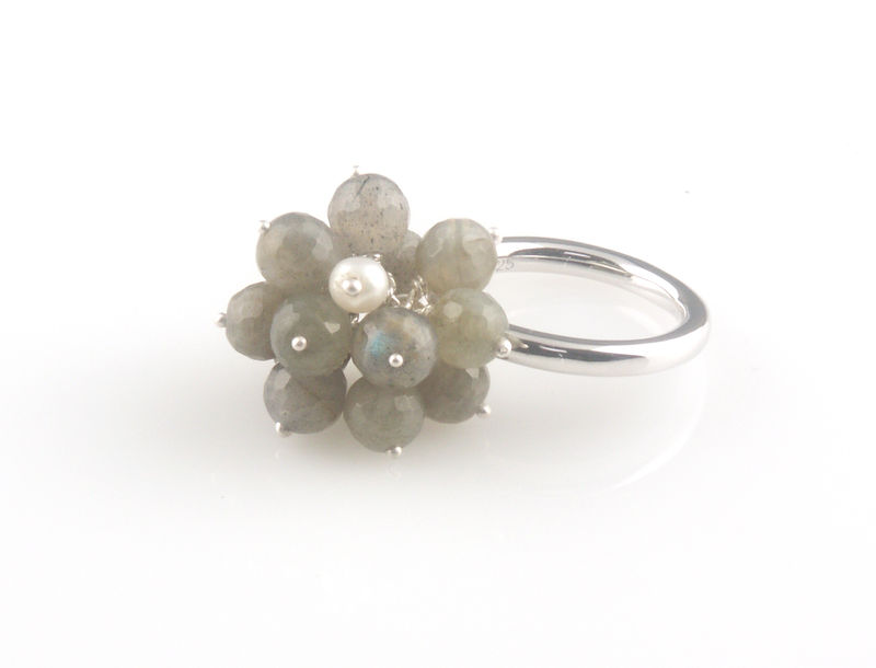 'Wearing Nature' - Labradorite cluster with pearl ring  - product images  of