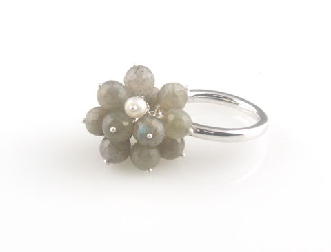 'Wearing,Nature',-,Labradorite,cluster,with,pearl,ring,silver jewellery, contemporary jewellery, ring, pearl, aquamarine