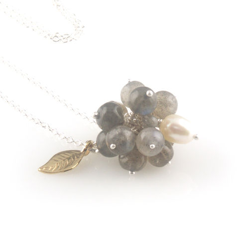'Wearing,Nature',-,Labradorite,cluster,with,pearl,necklace,silver jewellery, contemporary jewellery, necklace, pendant,  Labradorite, pearl, gift