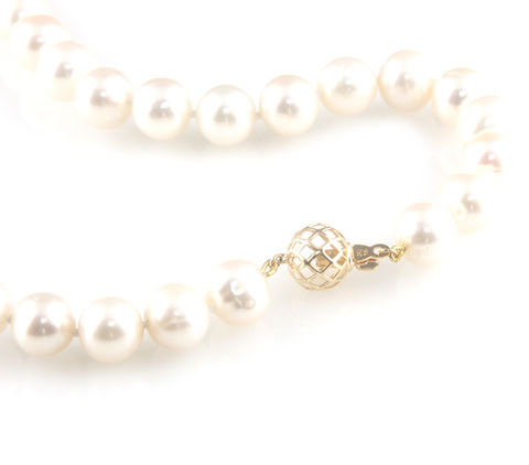 'Bridal,&,Bespoke',-,Pearl,necklace,with,18ct,gold,ball,clasp,bridal jewellery, wedding, necklace, contemporary, south sea pearl, gold ball clasp, diamonds