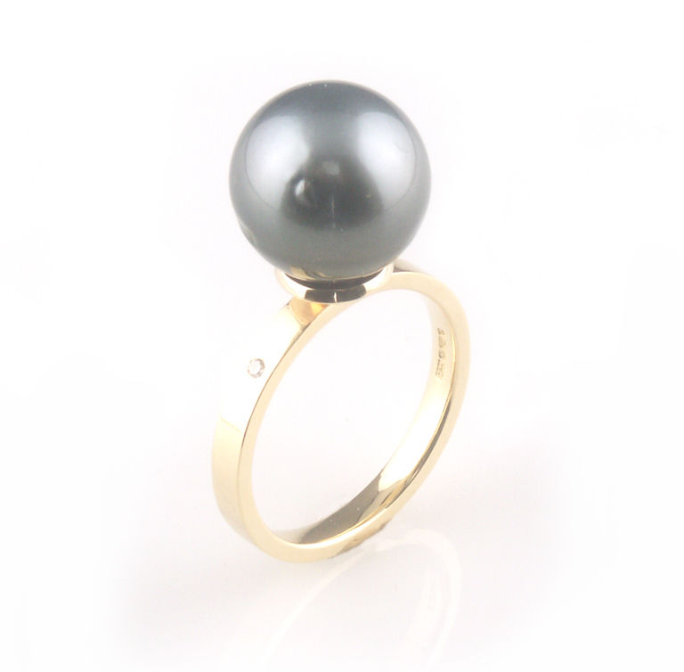 'Bridal & Bespoke' - gold ring with black tahitian pearl / south sea pearls - product images  of