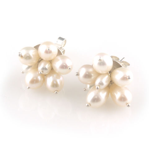 'Pearl,Wonder',-,silver,pearl,cluster,earrings,silver jewellery, contemporary jewellery, earrings, fresh water pearls