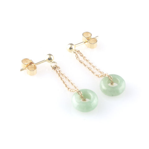 'Bridal,&,Bespoke',-,Gold,earrings,with,jade,drops,bridal jewellery, wedding, earrings, contemporary, jade, 18ct gold chain, bespoke jewelelry