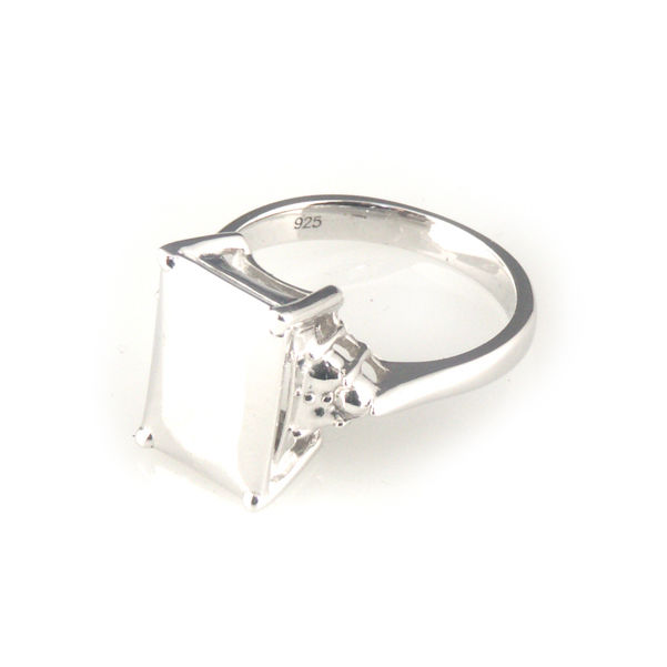 'Daimond Temptation' -  small emerald cut diamond shaped silver ring - product images  of