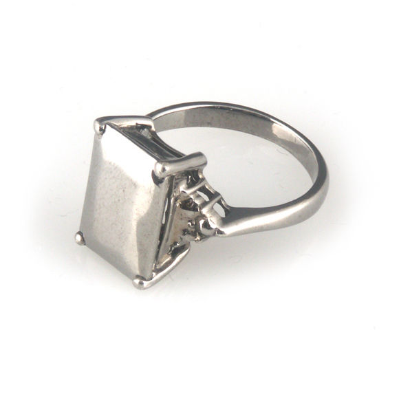 'Daimond Temptation' -  small black emerald cut diamond shaped silver ring - product images  of