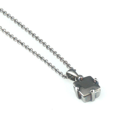 'Diamond,Temptation',-,black,silver,princess,cut,diamond,necklace,silver jewellery, contemporary jewellery, necklace, pendant