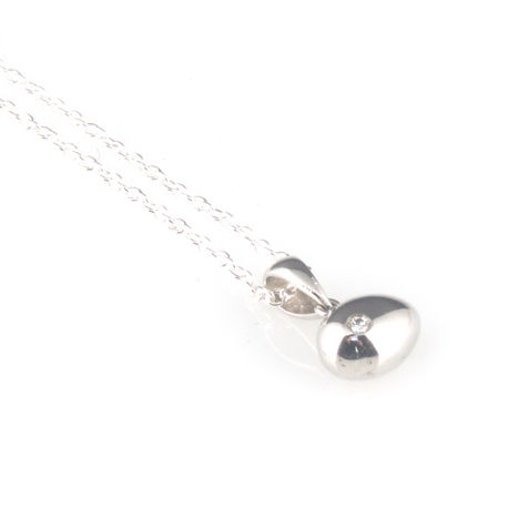 'Best Before' - 0.8cm gross silver egg pendant with diamond - product images  of