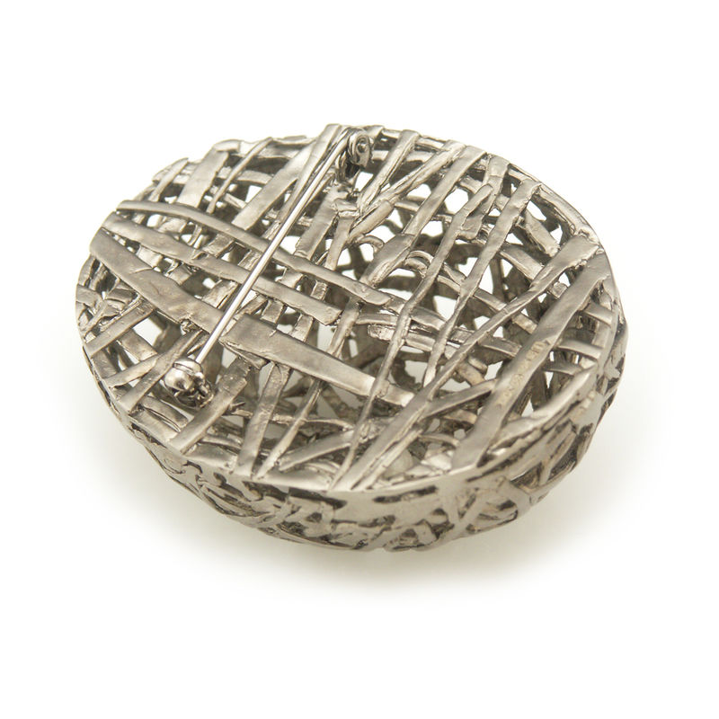 'Best Before' - matt black big egg brooch with pearl inside - product images  of