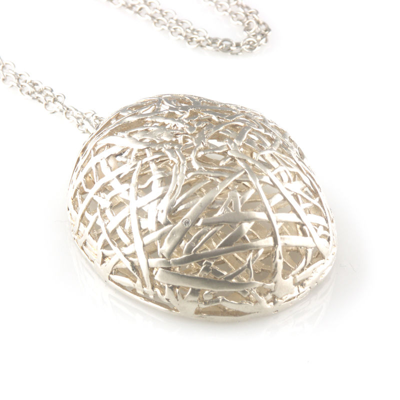 'Best Before' - silver big egg neclace with diamond - product images  of
