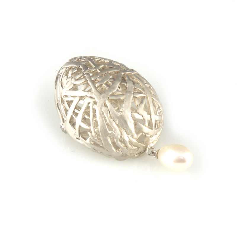 'Best Before' - silver egg brooch with pearl - product images  of