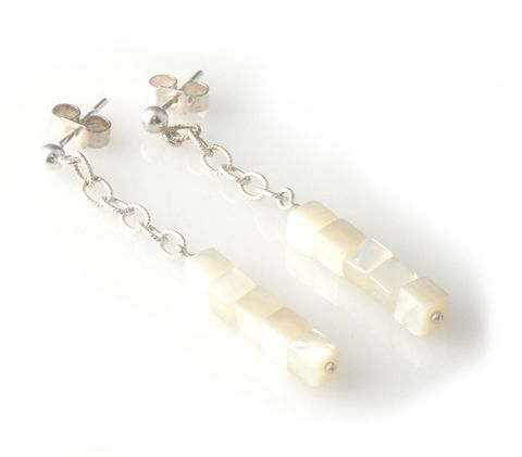 'Pearl,Wonder',-,silver,earrings,with,square,mother,of,pearls,silver jewellery, contemporary jewellery, earrings, bridal jewellery, wedding